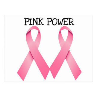 PINK POWER PINK RIBBONS BREAST CANCER AWARENESS POSTCARD