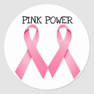 PINK POWER PINK RIBBONS BREAST CANCER AWARENESS STICKERS