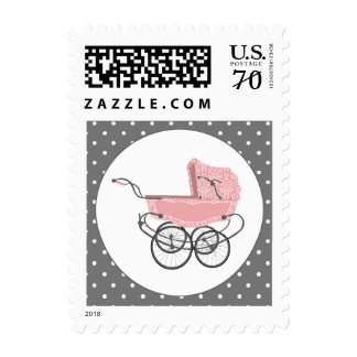 Pink Pram and Polka Dots Baby Shower Postage Stamp