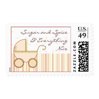 Pink Pram - Sugar and Spice Postage Stamp