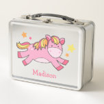 """Pink Prancing Pony Personalized Metal Lunch Box<br><div class=""""desc"""">Adorable design features a sweet pink pony illustration and can be personalized with your child&#39;s name or text of your choice.</div>"""