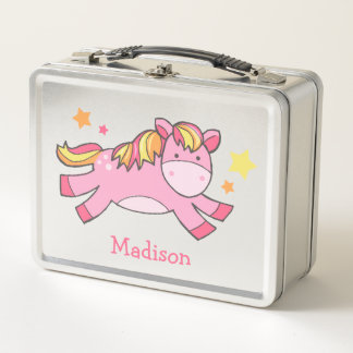 Pink Prancing Pony Personalized Metal Lunch Box