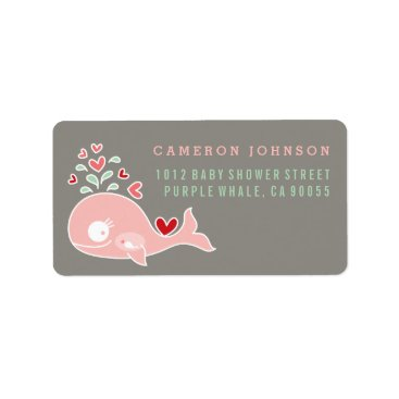 Beach Themed Pink Pregnant Mom Whale Baby Shower Address Labels