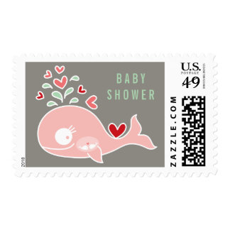 Pink Pregnant Mom Whale Twins Baby Shower Postage