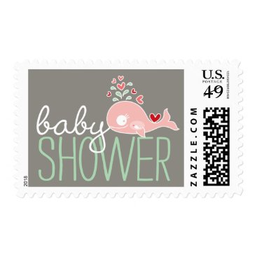Beach Themed Pink Pregnant Mommy Whale Girl Baby Shower Postage