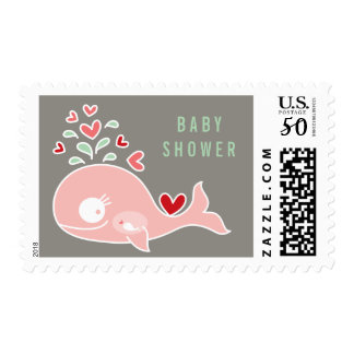 Pink Pregnant Mommy Whale Girl Baby Shower Postage