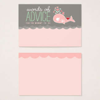 Pink Pregnant Whale Baby Shower Mommy Advice Cards