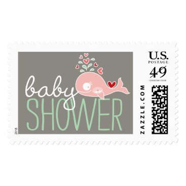 Beach Themed Pink Pregnant Whale Twin Girls Baby Shower Postage