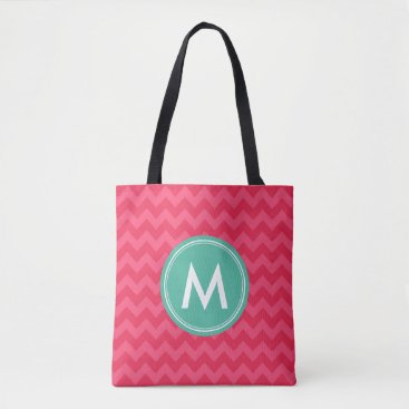 Beach Themed Pink Preppy Chevron Monogram Personalize Tote Bag