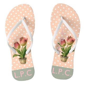 Pink preppy flip flops