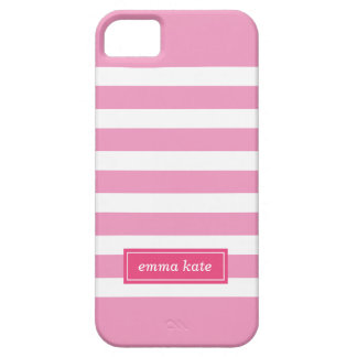 Pink Preppy Stripes Monogram iPhone SE/5/5s Case
