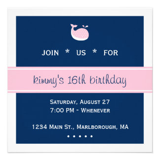 Pink Preppy Whale Birthday Personalized Announcement