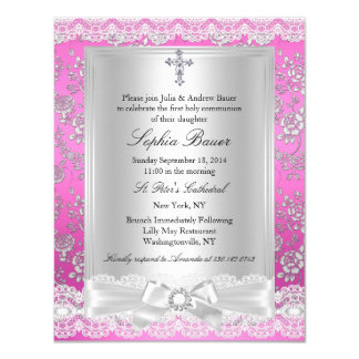 """Pink Pretty bow cross First Holy Communion 4.25"""" X 5.5"""" Invitation Card"""