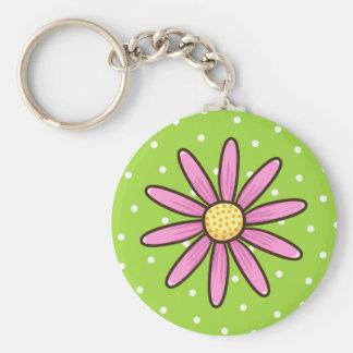 Pink pretty flower on green polka dot background basic round button keychain