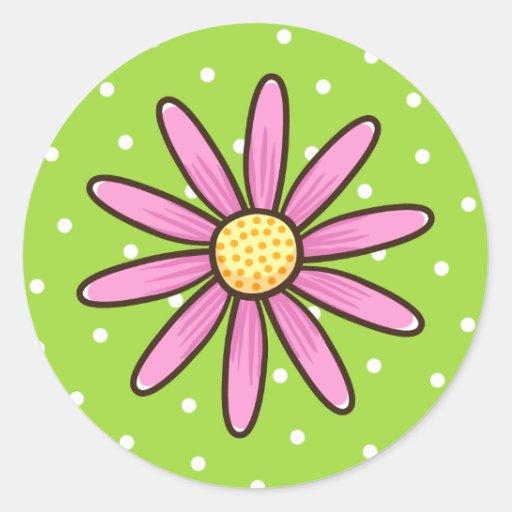 Pink pretty flower on green polka dot background round sticker