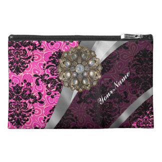 Pink pretty personalized girly damask pattern travel accessory bag
