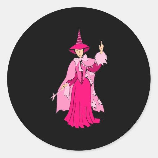 Pink Pretty Witch Round Stickers