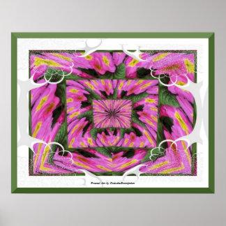 Pink Primroses Fractal Art Print