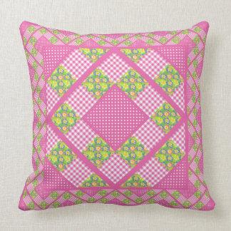 Pink, Primroses, Polkas and Gingham Throw Pillow