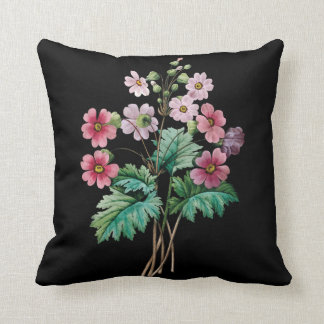 Pink primula black cushion