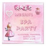 Pink Princess 10th Birthday Spa Party 5.25x5.25 Square Paper Invitation Card