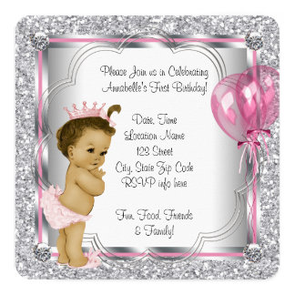 Pink Princess 1st Birthday Party Card