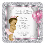Pink Princess 1st Birthday Party 5.25x5.25 Square Paper Invitation Card