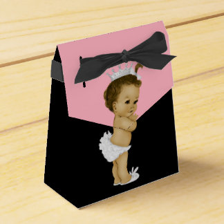 Pink Princess African American Baby Girl Shower Favor Box