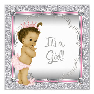 """Pink Princess African American Baby Shower 5.25"""" Square Invitation Card"""