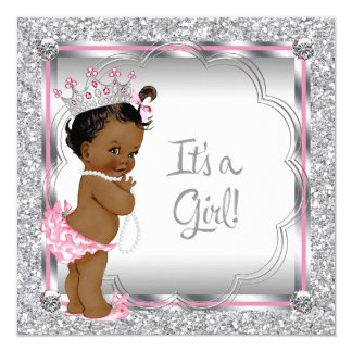 Pink Princess African American Baby Shower 5.25x5.25 Square Paper Invitation Card