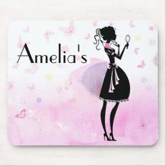 Pink princess and butterflies name mouse pad