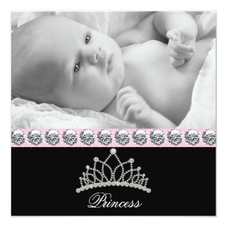 Pink Princess Baby Birth Announcements