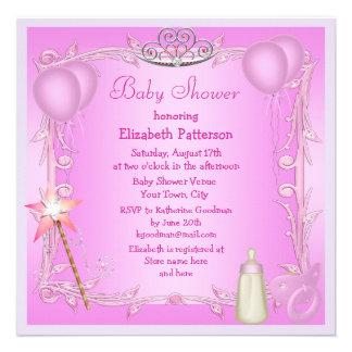 Pink Princess Baby Dummy Bottle Baby Shower Custom Invitation