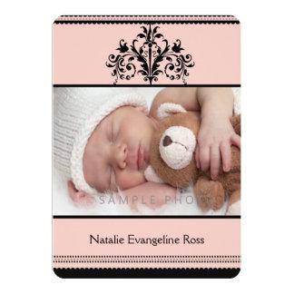 Pink Princess Baby Girl Custom Birth Photo Card