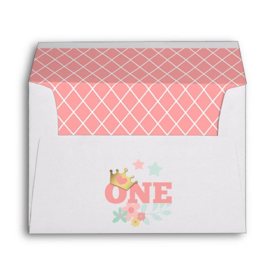pink princess baby girl first birthday invitation envelope zazzle com