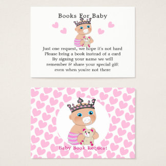 Pink Princess Baby Shower Book Request Business Card