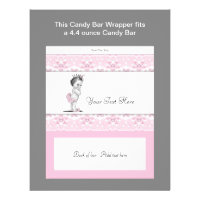 Pink Princess Baby Shower Candy Bar Wrapper Flyer
