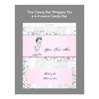 Pink Princess Baby Shower Candy Bar Wrapper Flyers