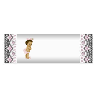 Pink Princess Baby Shower Favor Tags Double-Sided Mini Business Cards (Pack Of 20)