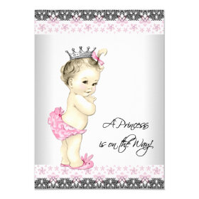 Pink Princess Baby Shower 4.5x6.25 Paper Invitation Card