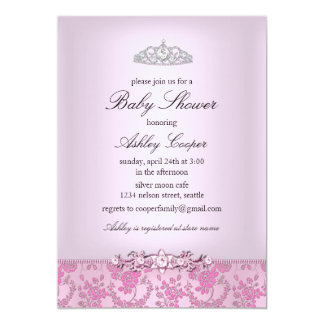 "Pink Princess Baby Shower Invitation 5"" X 7"" Invitation Card"