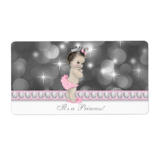 Pink Princess Baby Shower Water Bottle Labels
