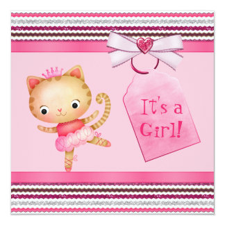 Pink Princess Ballerina Kitty Cat Baby Shower Card