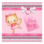 Pink Princess Ballerina Kitty Cat Baby Shower Invitation