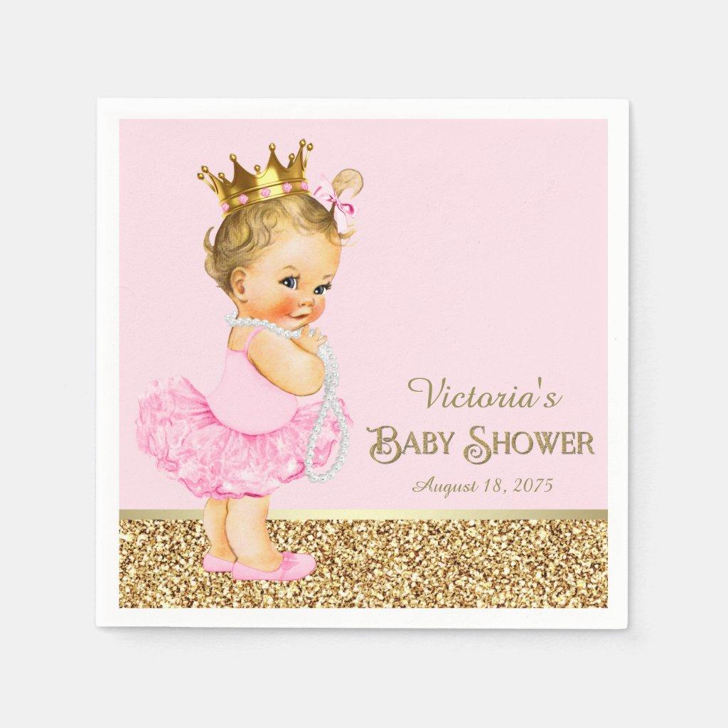 Pink Princess Ballerina Pink Gold Baby Shower Paper Napkin