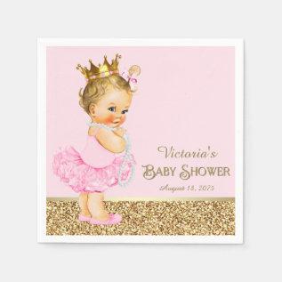 Pink Princess Ballerina Pink Gold Baby Shower Paper Napkin at Zazzle