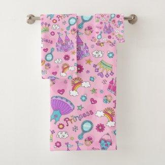 Pink Princess Bathroom Towel Set