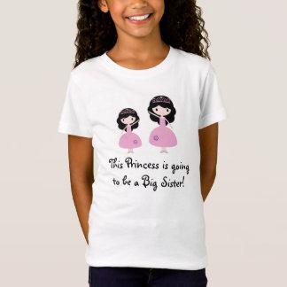 Pink Princess Big Sister - Black Hair T-Shirt