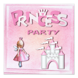 Pink Princess Birthday Party Cupcake & Castle Card