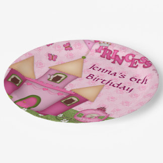 Pink Princess Birthday Party Paper Plates 9 Inch Paper Plate